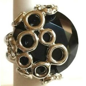 Silver Onyx Deco Statement Cocktail Ring Size 8